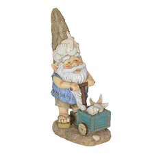 Beach Bum Gnome with a Box of Seashells Statue