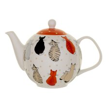 Cats in Waiting 1.89L Bone China Teapot