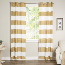 Kathi Striped Semi-Sheer Grommet Curtain Panels (Set of 2)