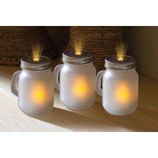 3 Piece Mason Jar Unscented Flameless Candle Set (Set of 3)
