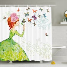 Fashion House Lady in Green Dress with Leaf Ornamentals Flower Pastel Butterfly Shower Curtain Set