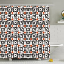 modern art home retro minimalist concentric spiral vortex graphic art work shower curtain set
