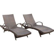 Peyton Adjustable Wicker Chaise Lounge (Set of 2)