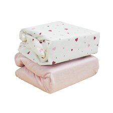 Hearts 2-Piece Fitted Cot Sheet Set