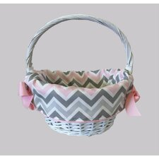 Pink/Gray Chevron Girl's Easter Cotton Basket Liner