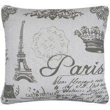 Paris Collage Printed Decorative 100% Cotton Throw Pillow