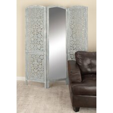 "72"" x 60"" Wood/Mirror 3 Panel Room Divider"