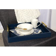 Lipton Decorative Serving Tray with Polished Metal Handles