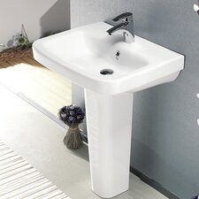 "Noura Ceramic 31.5"" Pedestal Bathroom Sink with Overflow"