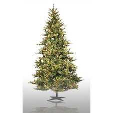 Country Pine 7.5' Green Slim Pine Artificial Christmas Tree with 650 Pre-Lit Clear Lights with Stand