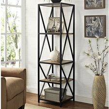 """Augustus X-Frame Metal and Wood Media 61"""" Etagere Bookcase"""