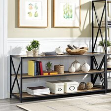 """Augustus X-Frame Metal and Wood Media 26"""" Etagere Bookcase"""