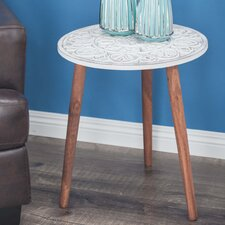 Wood Carved End Table by Cole & Grey