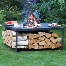 Rectangular Steel Wood Fire Pit Table