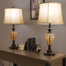 """Amber Glass 29.5"""" Table Lamp (Set of 2)"""