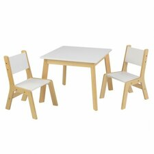 Modern Kids' 3 Piece Square Table and Chair Set