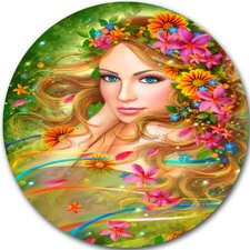 'Fairy Woman with Colorful Flowers' Graphic Art Print on Metal