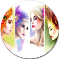 'Colorful Women Face Collage' Graphic Art Print on Metal