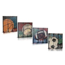 4 Piece For the Love of The Game Gallery Wrapped Canvas Art Set