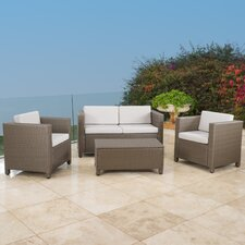 McIntosh 4 Piece Deep Seating Group with Cushions by Bay Isle Home