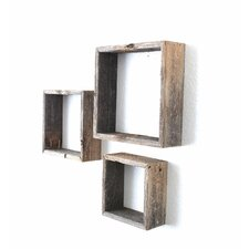 Rustic Open Box 100% Reclaimed Wood 3 Piece Accent Shelf Set by BarnwoodUSA