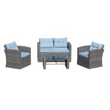 Denton Wicker 4 Piece Deep Seating Group with Cushion by Beachcrest Home