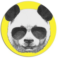 'Funny Panda with Sunglasses' Graphic Art Print on Metal