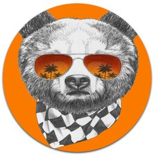 'Funny Bear with Sunglasses' Graphic Art Print on Metal