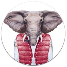 'Elephant in Vest and Sweater' Graphic Art Print on Metal