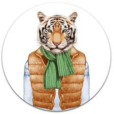 'Tiger in Vest and Sweater' Graphic Art Print on Metal