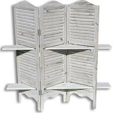 """45.7"""" x 45.3"""" Stockbridge Shutter Shelves 3 Panel Room Divider"""