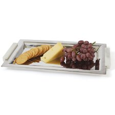 Rectangle Polished Silver Stone Handle Serving Tray