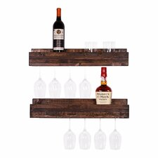 Tristen 5 Bottle Wall Mounted Wine Glass Rack (Set of 2)