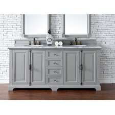 "Providence 72"" Double Urban Gray Bathroom Vanity Set"