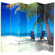 70.88 x 94 Double Sided Ocean 6 Panel Room Divider by Oriental Furniture