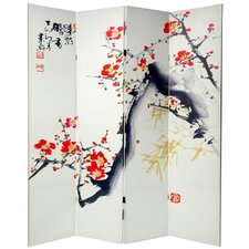 70.88 x 63 Double Sided Cherry Blossoms and Love 4 Panel Room Divider by Oriental Furniture