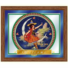 Miller High Life Girl in The Moon Framed Vintage Advertisement