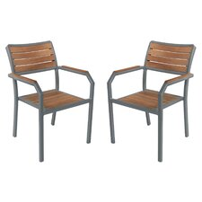 Cedric Outdoor Patio Dining Arm Chair (Set of 2) by Latitude Run
