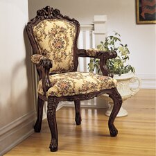 Carved Rocaille Fabric Armchair by Design Toscano