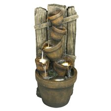Fence and Pots Cascade Water Feature Resin Fountain with Light