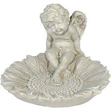 Dekorationsfigur Engel mit Vogeltränke