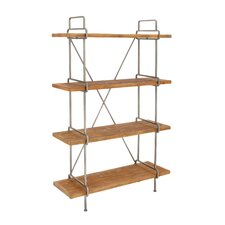 "Wood and Metal 4 Tier 67"" Etagere Bookcase"