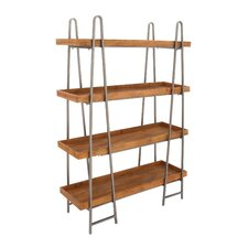 "Wood and Metal 4 Tier 65"" Etagere Bookcase"