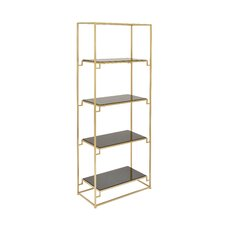 "Metal Glass 63"" Etagere Bookcase"