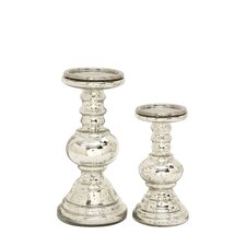 2 Piece Glass Candlestick Set