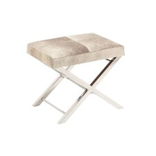Stainless Steel and Leather Hide Accent Stool