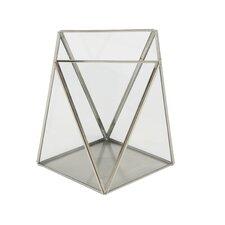 2 Piece Metal/Glass Hurricane Set