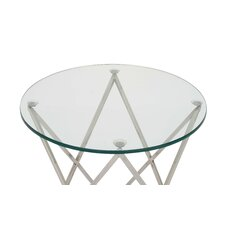 Stainless Steel and Glass End Table