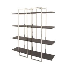 "Wood Stainless Steel 69"" Etagere Bookcase"