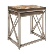 Metal/Wood 2 Piece Nesting Tables by Cole & Grey